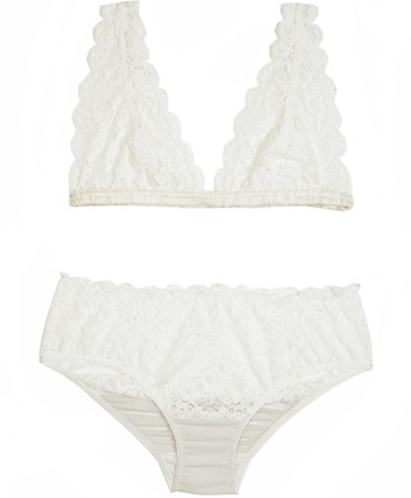 Lonely  - Ivory Lace Galloon Bra Set