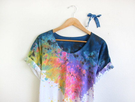 two string jane - Splash Dyed Hand PAINTED Scoop Neck Pinned Rolled Cuffs Tee