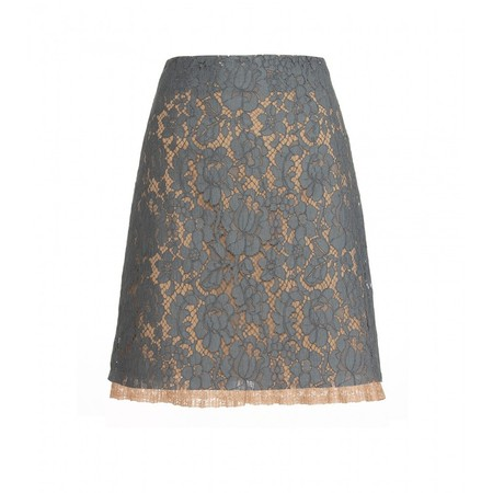 MIUMIU - GRAY CHANTILLY LACE SKIRT