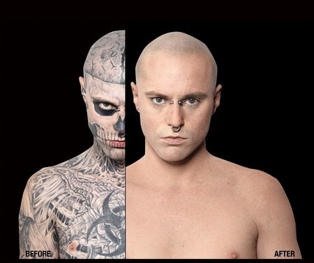 Zambie Boy - For the first time, a close view of Rico Genest, better known as the Zombie Boy, was revealed without his famous tattoos.