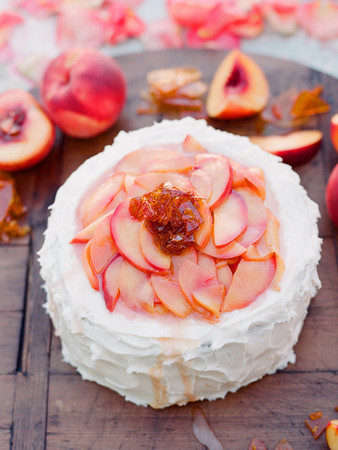 Peach Cake with Burnt Sugar Shards