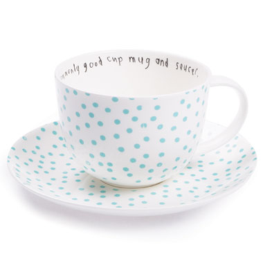 Lisa Stickley London - uncommonly good cup mug and saucer, ls dot old blue