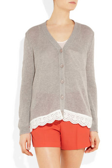 miu miu - Knitted cotton and lace cardigan