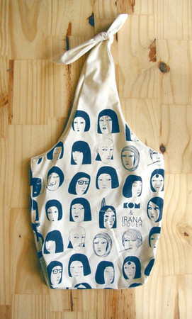 irana  - eco friendly silkscreened bag with bow / blue print