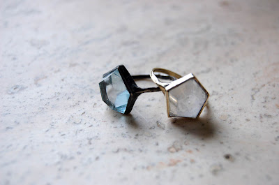aesa - 3D Hex Ring- ox silver & aqua or 10k gold & quartz.