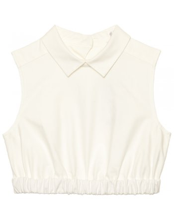 CARVEN - Oxford white cropped cotton top