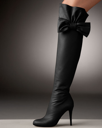 VALENTINO - Bow-Topped Over-the-Knee Boot