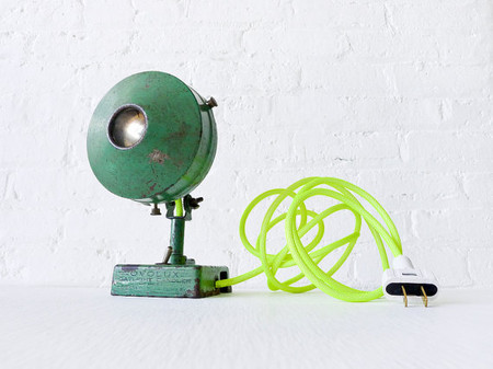 Antique Industrial Green Spotlight Lamp w/ Neon Yellow Net Color Cord