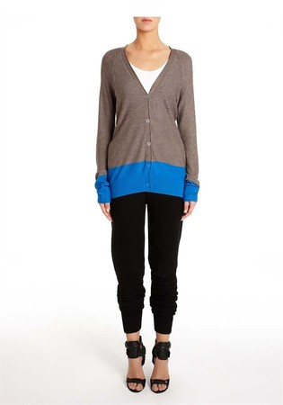 Alexander Wang - Viscose Blend Lightweight Color Block Cardigan Thumb
