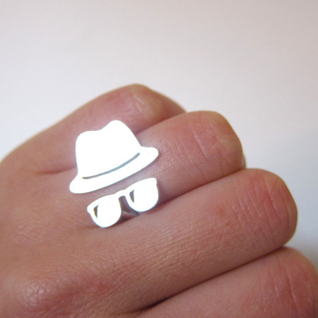smilingsilversmith -  Jazz Hat with sunglasses - Handmade Silver Rings |