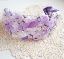 "Vintage - 1960's ""LILAC and LAVENDER RIBBON"" Floral Headdress"