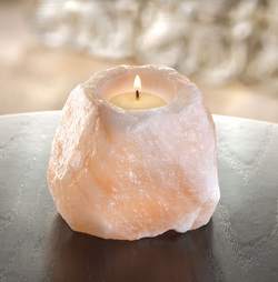 Pink salt candle - Natural Shape Himalayan Salt Candleholder