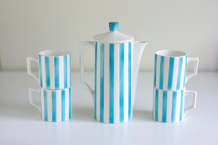 Aqua Striped Coffee Pot and Mugs