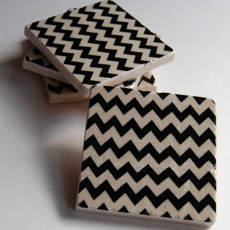 Luulla - Black Chevron coasters
