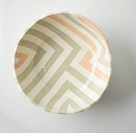 Grey & Peach Zag Bowl