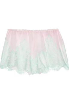 Rosamosario - Caramella lace and silk georgette shorts