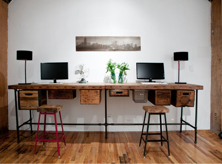 urban wood goods - reclaimed wood work table connected