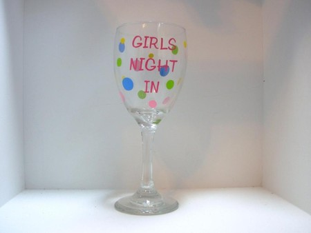 Luulla - Handpainted Girls Night In Wine Glass Personalized