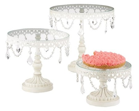 Set of Three White Iron and Glass Cake Stands