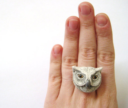 SpotLightJewelry  - Winter Snow White Owl Ring Boho Jewelry Woodland Christmas