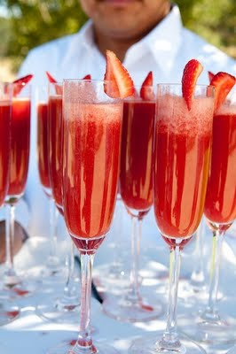 Strawberries pureed and blended with chilled champagne