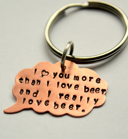 whiteliliedesigns - I love you more than beer custom quote key chain