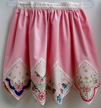 Apron with vintage hankies