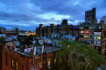 Rooftop graffiti in Chinatown NYC