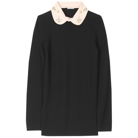 miu miu - RIBBED PULLOVER WITH CRYSTAL BEAD EMBELLISHED COLLAR