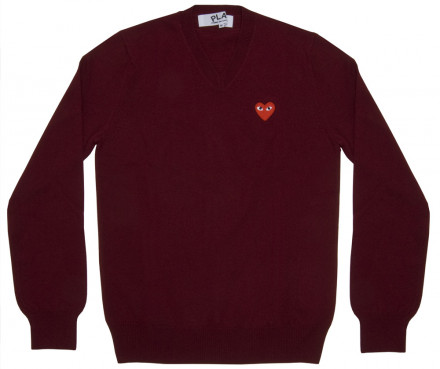 PLAY COMME des GARCONS - Red Play V Neck Sweater (Burgundy)