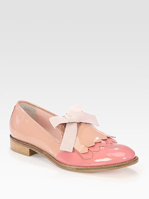 RED Valentino - Bicolor Patent Leather Bow Oxfords
