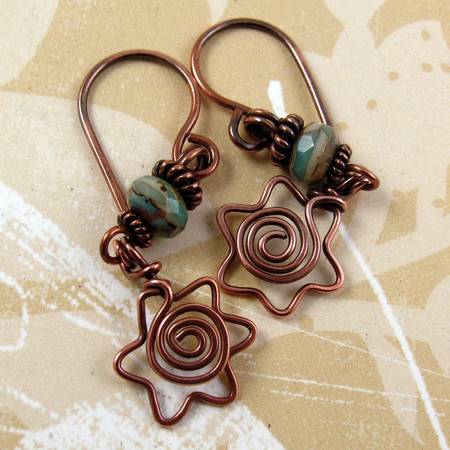 Luulla - DAVIDKA star of david copper wire earrings with spiral centers and teal green blue picasso czech glass beads