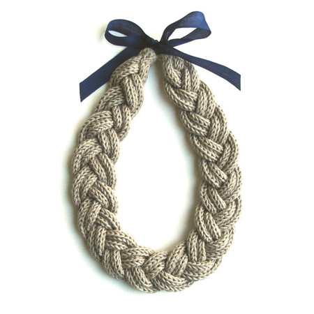 AAliciaAccessories - Plait Necklace, handmade in organic fairtrade cotton, with vintage ribbon - choice of colours