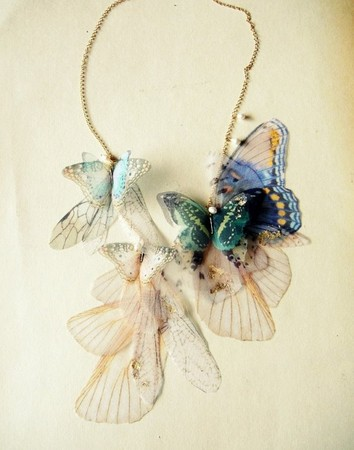 Fluttery Breath of Life Necklace  - Gold Brushed Aqua and Blue-