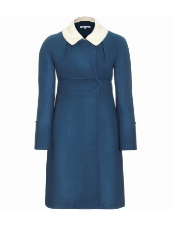 CARVEN - WOOL-CASHMERE COAT WITH BOILED WOOL COLLAR