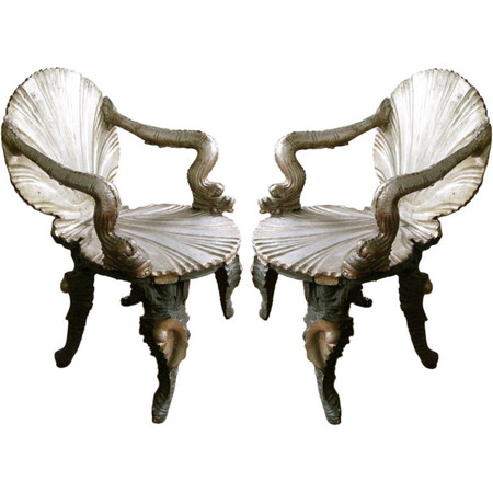 antique chairs - Pair of Italian Venetian Silver Gilt 19thC Grotto Arm Chairs