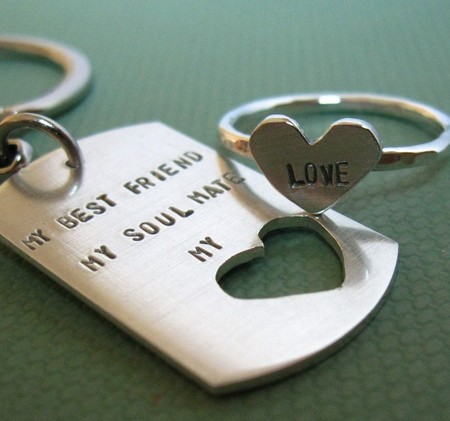 SilverMadeStudio - intertwine. dog tag  and sterling silver HEART ring