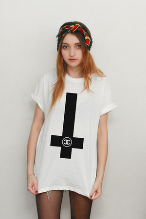 OH HELL - White Inverted Cross 'Chanel' Tee