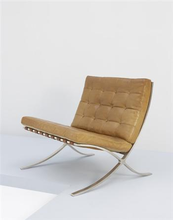 "Berliner Metallgewerbe Joseph Müller - early ""Barcelona"" chair, Designed by Ludwig Mies van der Rohe, 1932"