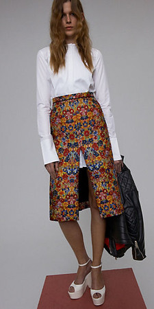 CELINE - Multicolour Fantasy Jaquard Asymetric Slit Skirt