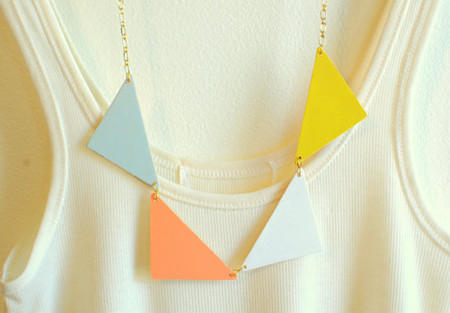 theswanlake - pastel bunting triangle necklace - triangle necklace - coral, light blue, yellow, white - made to order