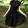 Black silk Tunic Dress A06876
