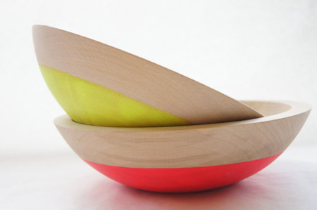 "Wind & Willow Home - Wooden Salad Bowl, 7"" Set of 2, Neon Pink, Neon Yellow, Summer Party, Salad Bowl"