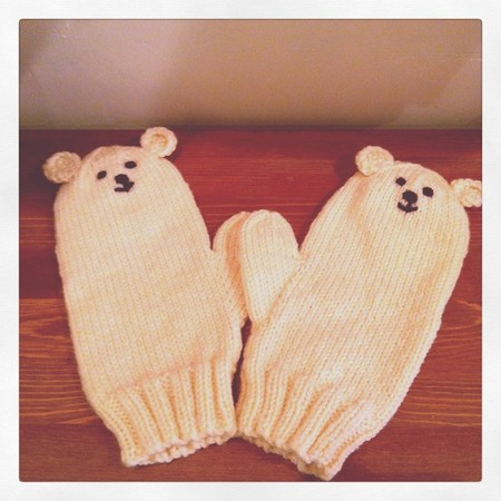 Polar bear mittens