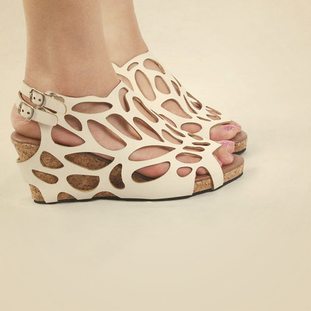 Hollow Roman shoes fish head shoes wedge heel sandals