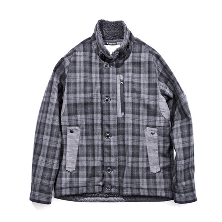 White Mountaineering - PERTEX WOOL CHECK KILTING BOA JACKET