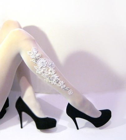 Emma Jewel - Bridal floral lace and Pearls TATTOO Tights Or Stockings - Pantyhose- colour Matt Ivory- Emma  Jewel