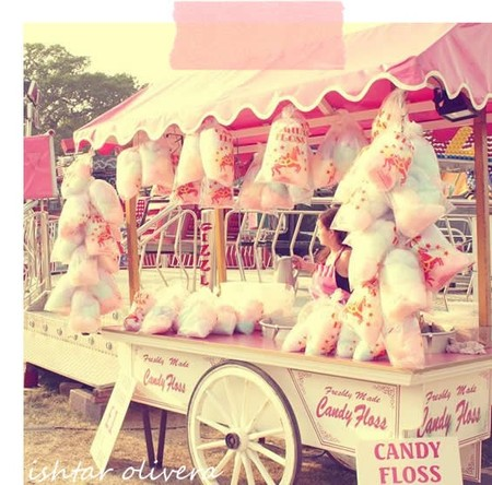 Pink cotton candy cart