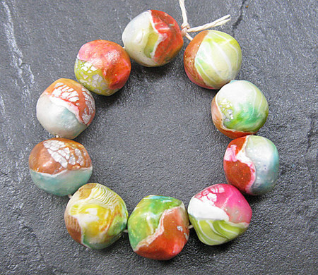 Luulla - Set of 10 Handmade Clay Nugget Beads Pink Green Blue Yellow Silver White Faux Glass Gemstone