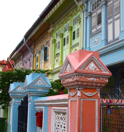 Singapore, Katong - Pastel color's houses